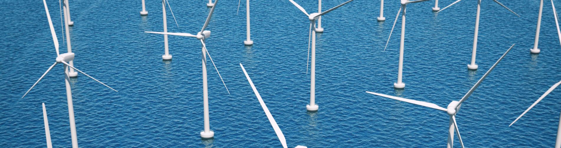 Windräder auf dem Wasser erzeugen Energie